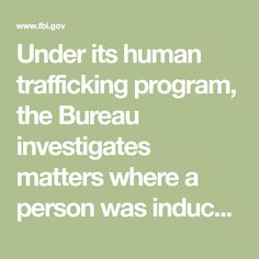 Under its human trafficking program, the Bureau investigates matters where a person was induced to engage in commercial sex acts or perform any labor or service through force, fraud, or coercion. Federal Law Enforcement, Law Enforcement Agencies, Innocence Lost, Federal Bureau, Violent Crime, Forced Labor, Department Of Justice, State Government