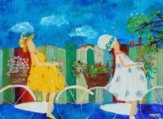 dames op de fiets - jips-art schilderijen met een knipoog naar de werkelijkheid