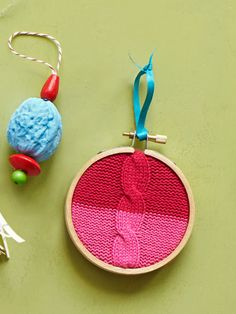 The walnut ornament might look too much like a brain for my tree, but I love the upcycled sweater idea.