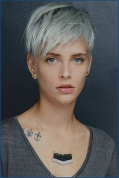 Icy Short Pixie Cut - 60 Cute Short Pixie Haircuts – Femininity and Practicality - The Trending Hairstyle Lilac Grey Hair, Grey Curly Hair, Long Gray Hair, Brown Hair, White Hair, Blonde Hair, Short Hair With Layers, Short Hair Cuts For Women, Short Hair For Girls