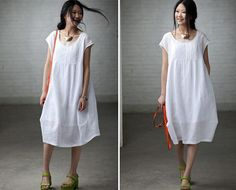 white colors Loose Fitting Soft Cotton Long Shirt by clothnew88, $49.99