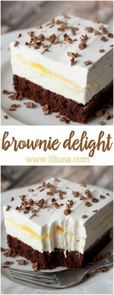 Brownie Delight - a delicious 4-layer dessert that is cool, creamy and chocolate-y. It consists of brownie, whipped topping, pudding and even more whipped topping. SO GOOD!