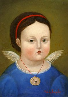 portrait of a child that has passed away (note the wings) and lover's eye necklace (of the mother?)