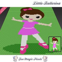 Little Ballerina crochet blanket pattern; c2c, knitting, cross stitch graph; pdf download; no written counts or row-by-row instructions by TwoMagicPixels, $2.84 USD