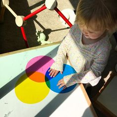 Color mixing for toddlers using colored gel sheets
