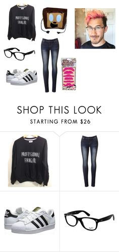 """""""Markiplier fan girl"""" by hip-like-jaden ❤ liked on Polyvore featuring adidas Originals, Ray-Ban, women's clothing, women, female, woman, misses and juniors"""