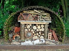 An insect hotel is a man-made structure created from natural materials to provide a habitat for insects and other wildlife. Insect hotels come in a variety of shapes and sizes depending on the specific purpose or type of insect being catered for. Bug Hotel, Rutland Water, Terrasse Design, Wild Bees, Mason Bees, Bee House, Beneficial Insects, Diy Décoration, Hotels
