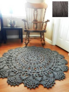 Crochet Doily Rug, floor, charcoal gray grey- Lace- large area rug, Cottage Chic- shabby chic home decor- round rug, French Country Decor