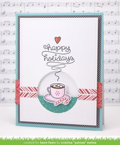 Lawn Fawn - Love You a Latte + coordinating dies, Stitched Rectangle Stackables, Circle Stackables, Snow Day 6x6 paper _ card by Yainea for Lawn Fawn Design Team