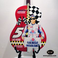 "Hand Painted Guitar by artist Julie Borden, owner of Juleez. ""Nascar Tribute Guitar"" Custom Commission www.juleez.com"