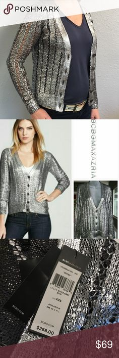 BCBG Metallic Reyes Cardigan Perfect for the holidays! Wear over your favorite LBD or all white with silver heels. Also perfect to dress up your jeans for date night, or for the office party. It's sized XXS, but I'm a Small and it works for me (first pic), so somewhat flexible. NWT. BCBGeneration Sweaters Cardigans
