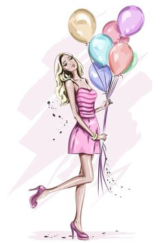 Happy Birthday Girls, Art Birthday, Girl Cartoon, Cartoon Art, Cute Girl Drawing, Colorful Birthday, Fashion Wall Art, Portrait Illustration, Anime Art Girl