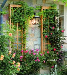 Treliças para suporte de flores na varanda