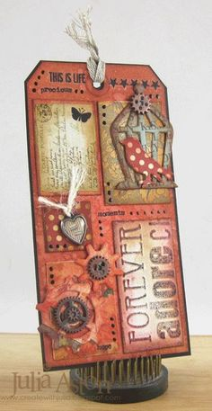 Create With Me: I made this tag for the Tim Holtz - 12 Tags of 2014 - May challenge. Atc Cards, Card Tags, Gift Tags, Scrapbooking, Scrapbook Paper Crafts, Book Libros, Handmade Tags, Collage, Paper Tags