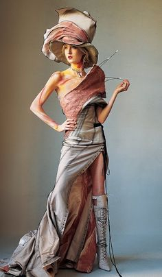 John Galliano, for Christian Dior Couture - 2000 - Homeless Collection - Inspired by the homeless population in Paris - Vogue - March 2000 - Photo by Irving Penn