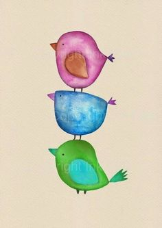 Printable nursery art print Watercolor Birds wall by InkFivePrints Bird Illustration, Illustrations, Watercolor Illustration, Watercolor Bird, Watercolour Painting, Whimsical Art, Nursery Art, Doodle Art, Painting Inspiration