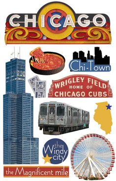 Paper House Productions - Chicago Collection - 3 Dimensional Cardstock Stickers - Chicago at Scrapbook.com $3.99