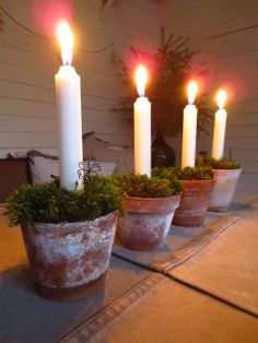 Patinerade krukor som adventsljusstake Advent Candles, Pillar Candles, Christmas Is Coming, Christmas Time, Christmas Ideas, Diy Xmas Gifts, Christmas Fashion, Southern Charm, Xmas Decorations