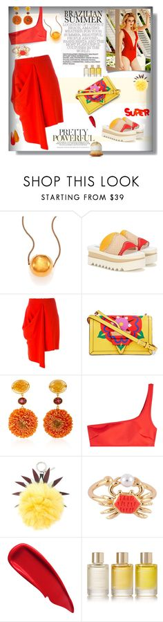 """""""Brazilian Summer 💃 in Red !"""" by selmendonca ❤ liked on Polyvore featuring STELLA McCARTNEY, Loewe, Ellison, Bahina, Vanity Fair, Fendi, Les Néréides, Sisley, Aromatherapy Associates and Artis"""