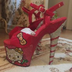 Hello Kitty hand painted heels Gorgeous & oh so cute!! Pleaser Shoes Heels
