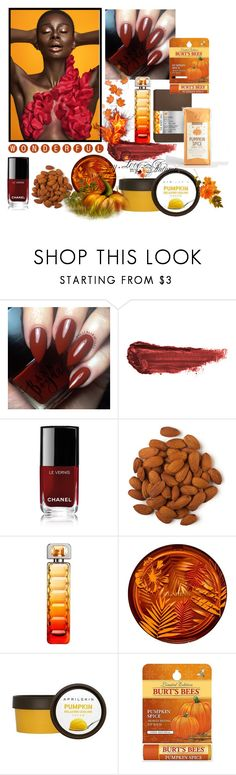 """Pumpkin Spice"" by freida-adams ❤ liked on Polyvore featuring beauty, By Terry, Chanel, HUGO, Clarins and Burt's Bees"