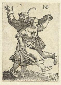 Hans Sebald Beham | Dansend boerenpaar, Hans Sebald Beham, 1537 |