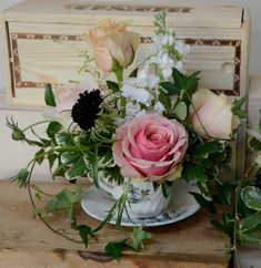 Had to share these cute bouquets we are doing in vintage teacups from facebook.com/PapillonFloralDesign