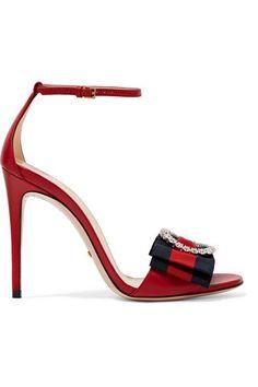 Gucci - Embellished Grosgrain-trimmed Leather Sandals - Red