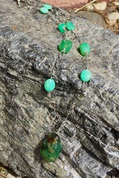 Nature connection is what this Chrysoprase and Sterling Silver chain and wire necklace is all about. by StonesToAdorn on Etsy