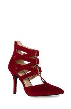 Velvet Lace Up Heels in Red 10 | DAILYLOOK