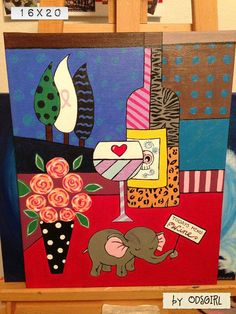 Custom Hand Painted on 16x20 Canvas Wine Inspired by ODsGirl, $30.00