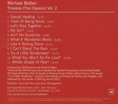 For Sale - Michael Bolton Timeless The Classics Vol 2 USA Promo  CD album (CDLP) - See this and 250,000 other rare & vintage vinyl records, singles, LPs & CDs at http://991.com