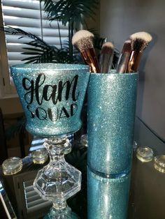 Set of Two Glitter Glam Blue Makeup Brush Holders - Glitter Glam Lipstick Holder - Vanity Decor - Makeup Artist Gift - Glam Gift - Makeup Brush Holders, Lipstick Holder, Custom Wine Glasses, Glitter Wine, Cricut Craft Room, Custom Candles, Vanity Decor, Hand Jewelry, Blue Makeup