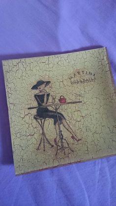 """Decoupage """" La  mujer Martini """""""
