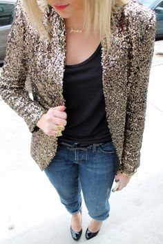 sequin blazer, with jeans or dressed up