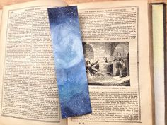 Art Bookmark, Watercolor bookmark, Galaxy Bookmark, Watercolor Galaxy, book lover gift, unique bookmarks, original art, book accessories