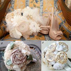 Homemade Flower Bouquets | Wedding Bouquet , 2. Fabric and Rhinestone Bridal Wedding Bouquet ...