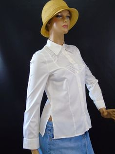 Escada Germany White Bib Pleated Button Down Shaped Shirt Top Women Size 36  | Clothing, Shoes & Accessories, Women's Clothing, Tops & Blouses | eBay!