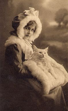 Cat laying on fur muff.Vintage Cats and People Images Vintage, Vintage Pictures, Old Pictures, Vintage Postcards, Old Photos, Antique Photos, Vintage Photographs, Vintage Girls, Vintage Children