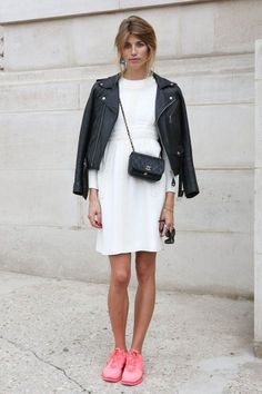 """STREET STYLE : Veronika Heilbrunner from """"mytheresa"""" - in white dress with black biker jacket, classic Chanel bag and pink Nike shoes..."""