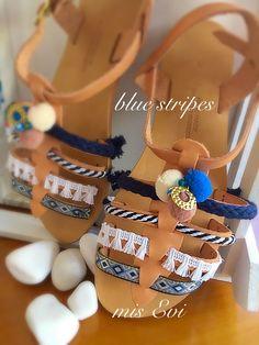 Blue stripes!!! Handmade leather sandals Greek Sandals, Handmade Leather, Blue Stripes, Leather Sandals, Fashion Beauty, Style, Swag, Stylus, Blue Streaks