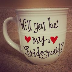 Will You Be My Bridesmaid Mugs for your Bridal by thebeezeknees, $12.00