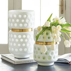 Sleek graphic design influenced the look of our statement-making Durban Dot    Vase. This unique decorative accent is modern and striking in white glossy    and frosted glass with a dot pattern and a gold-toned metal band. We love    it on its own, or grouped in a dynamic manner with one or two others for    extra impact. Because crisp white accents are part of the outlook in strong    design choice for neutral, transitional, or rustic spaces, this vase is an    on-trend choice, too.     ...