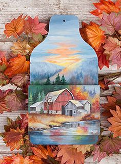 Homestead Autumn by Barb Halvorson. Wooden surface and Exclusive Free Downloadable pattern available at www.ArtistsClub.com