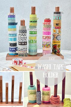 Make some great craft room storage by upcycling a broom handle into a washi tape holder. Can also be used for ribbon and twine. Diy Washi Tape Holder, Washi Tape Storage, Ribbon Storage, Diy Craft Projects, Craft Tutorials, Diy Crafts, Paper Crafts, Craft Room Storage, Craft Organization