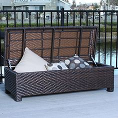 Christopher Knight Home Santiago Brown Wicker Storage Ottoman. Store your yard and pool items in style with this fashionable storage ottoman. Patio Storage, Storage Ottoman Bench, Bench With Storage, Outdoor Storage, Storage Spaces, Storage Ideas, Blanket Storage, Storage Cart, Storage Containers
