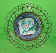Antique Majolica Butter Pat Wire Basket, Flower on Napkin, c.1900