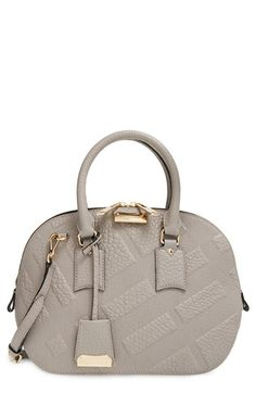 Burberry 'Small Orchard' Check Embossed Leather Satchel available at #Nordstrom