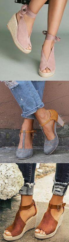 """Shop now>>Espadrille Ankle Tie Sandals Peep Toe Wedge Sandal.- Shop now>>Espadrille Ankle Tie Sandals Peep Toe Wedge Sandals >Espadrille Ankle Tie Sandals Peep Toe Wedge Sandals""""> Shop now>>Espadrille Ankle Tie Sandals Peep Toe Wedge Sandals - Block Sandals, Lace Up Sandals, Lace Up Shoes, Cute Shoes, Wedge Sandals, Casual Heels, Peep Toe Wedges, Strap Heels, Fashion Shoes"""