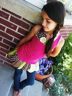 """super-cute little """"Petal Tank"""".  Use up your scraps by making them into petal extensions on an existing shirt.  Love it!"""